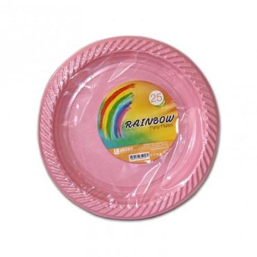 Farfurii de unica folosinta roz 22.5cm 25/set Est