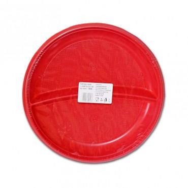 Farfurii de unica folosinta rosii doua compartimente 25/set Est