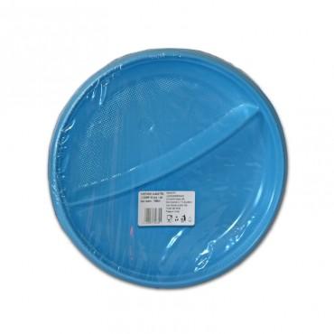 Farfurii de unica folosinta albastre 2 compartimente 25/set Est