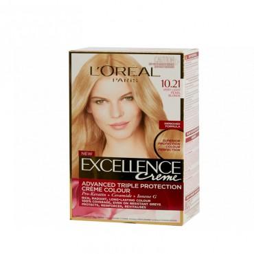 Vopsea de par L'Oreal Excellence Creme 10.21 blond foarte deschis