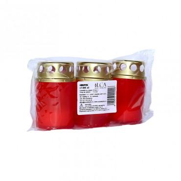 Candela plastic rosie cu capac 12h 3/set